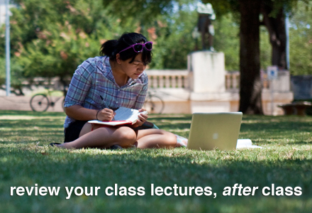 girl sitting outside on the grass studying, with note pad and looking at computer. tagline: Review your class lectures, after class.